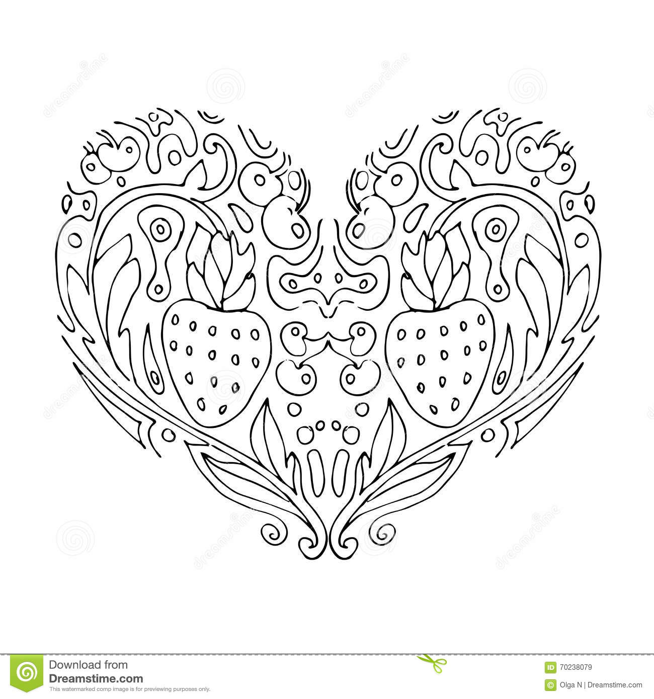 Decorative Love Heart With Flowers And Berries Valentines
