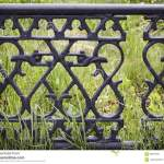 Decorative Metal Fence At The Sidewalk Stock Image Image Of Barrier Fence 99307361