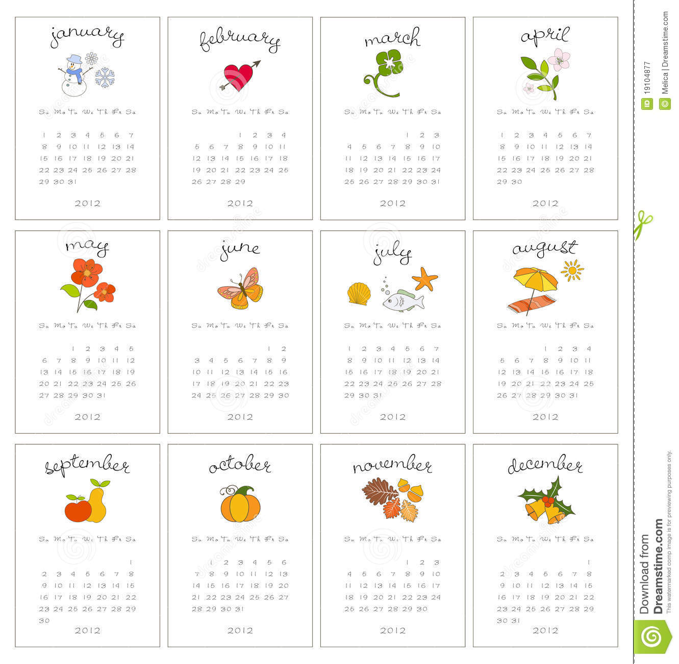 Decorative Monthly Calendars Royalty Free Stock Photography Image 19104877