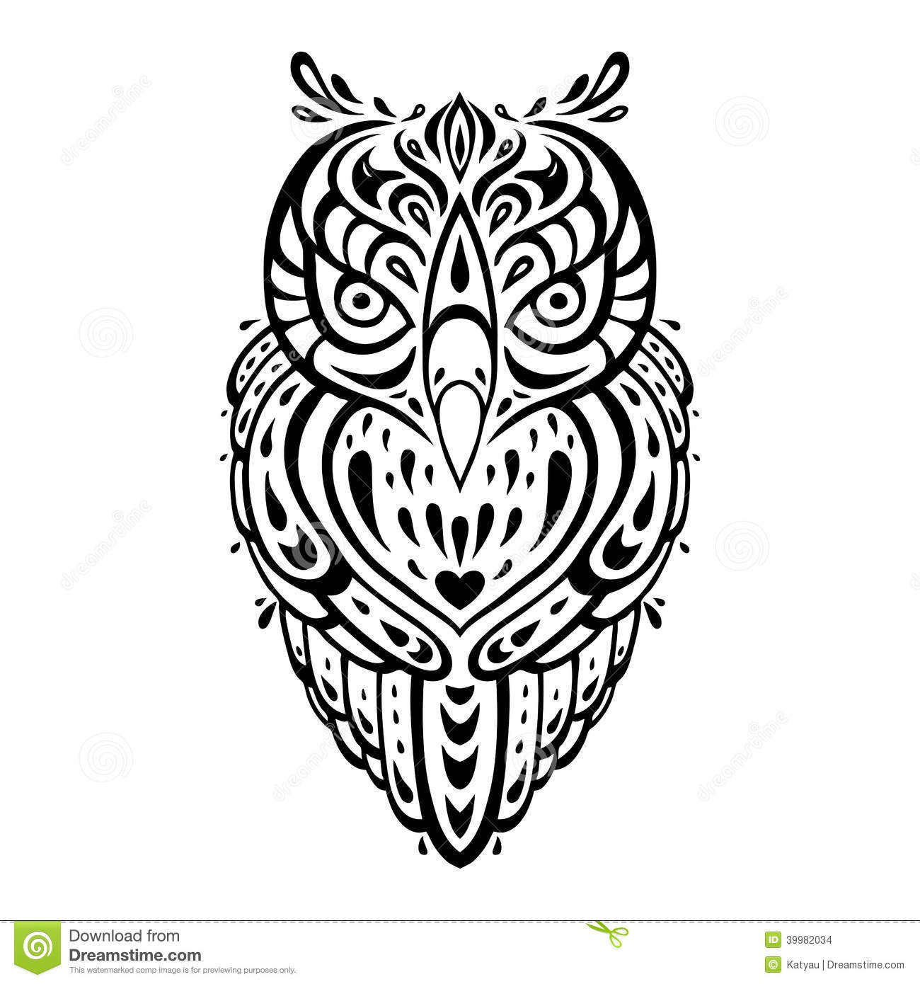 Decorative Owl Ethnic Pattern Stock Illustration