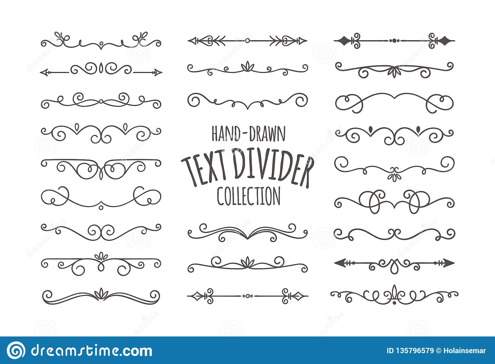 decorative swirls text divider