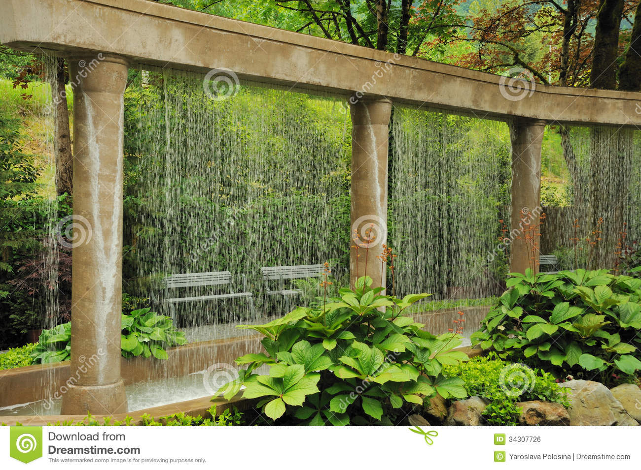 Decorative Water Wall In The Garden Stock Photo  Image of