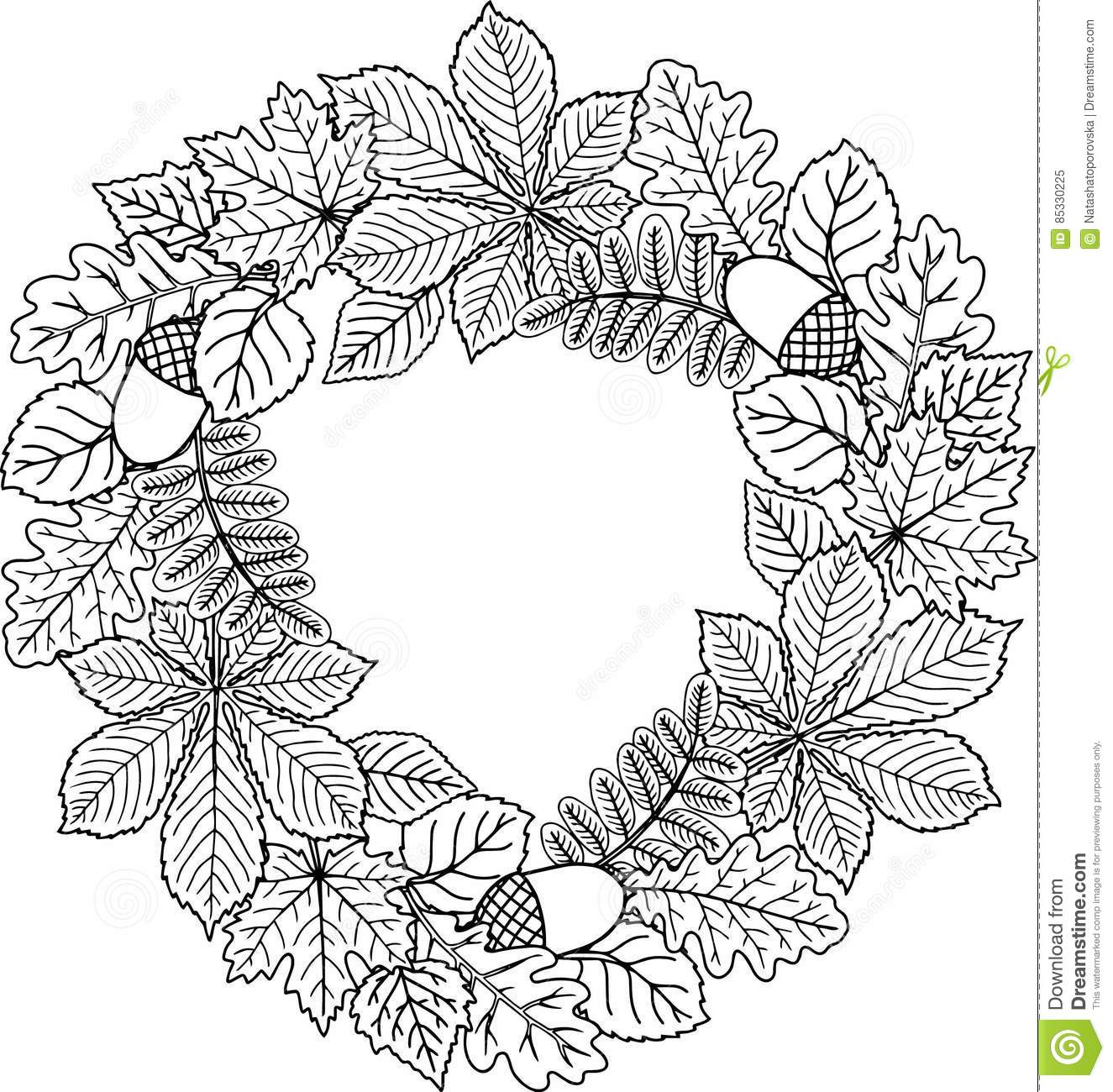 Decorative Wreath Of Autumn Leaves. Vector Coloring Book