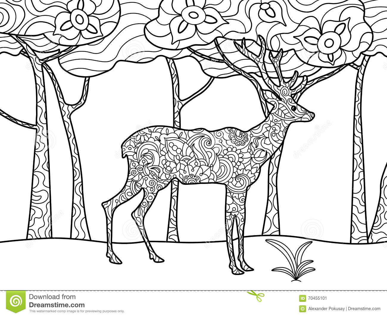 Deer Coloring Book For Adults Raster Stock Vector