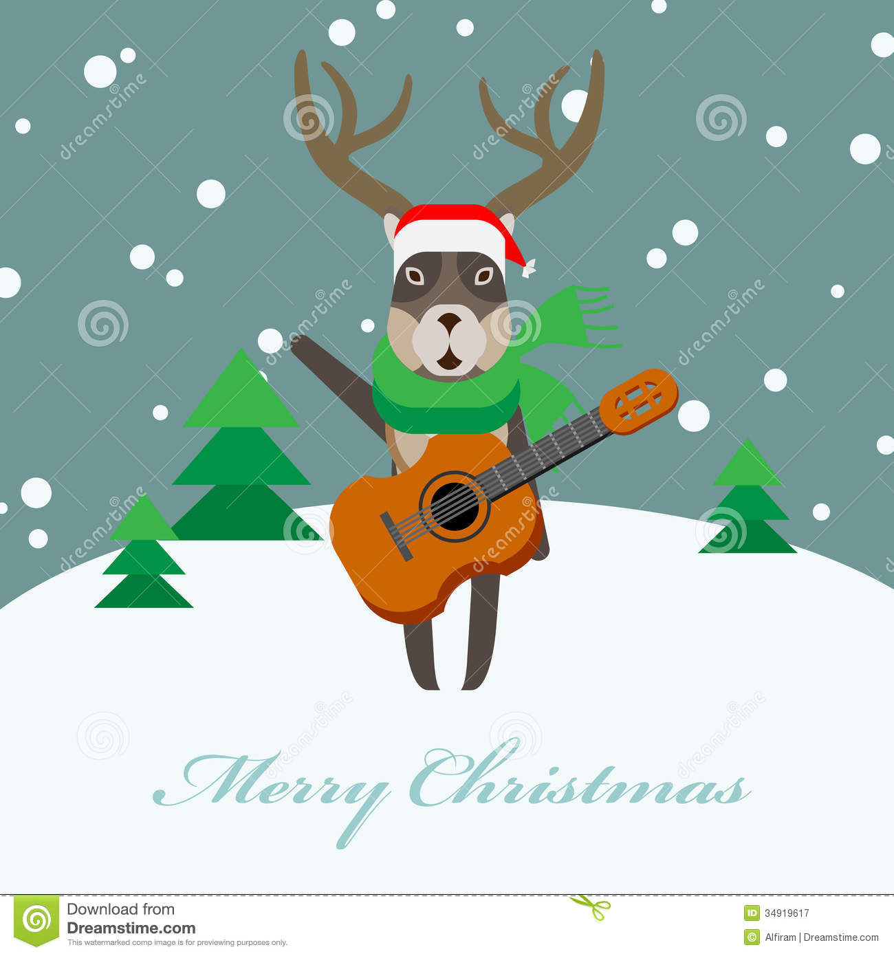 Deer With A Guitar Royalty Free Stock Photography Image