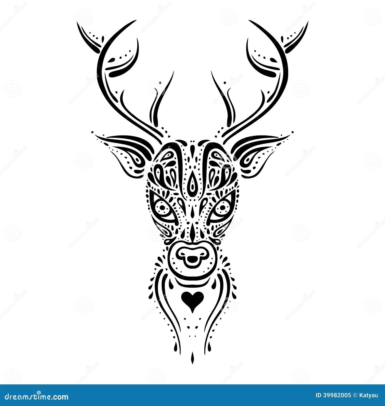 Deer Head Ethnic Pattern Stock Illustration Image Of