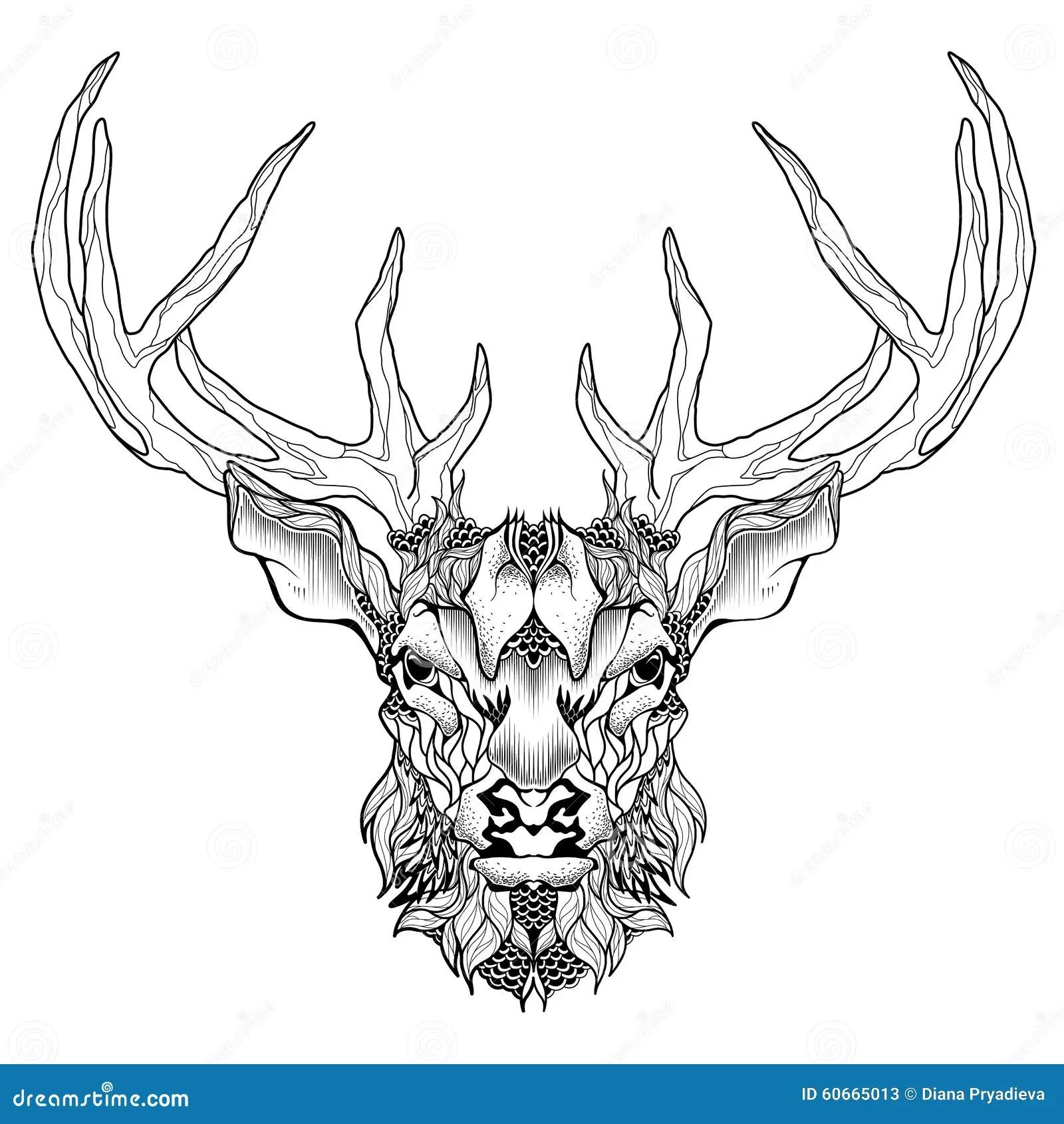 Deer Head Tattoo Psychedelic Zentangle Style Stock