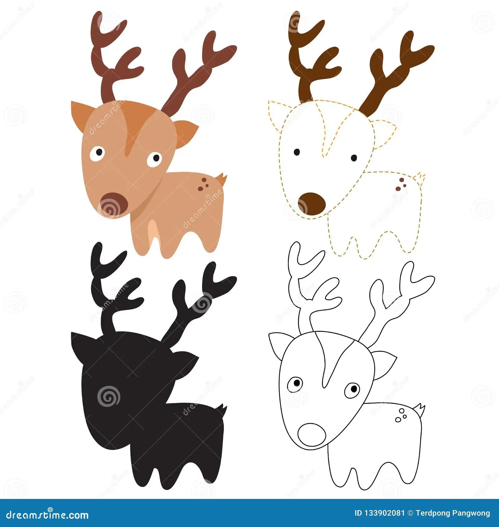 Deer Worksheet Vector Design Stock Vector