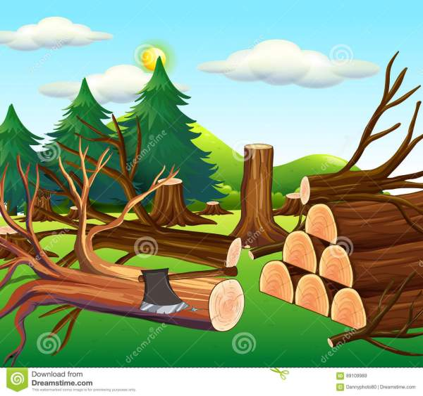Deforestation Scene With Chopped Woods Stock Illustration