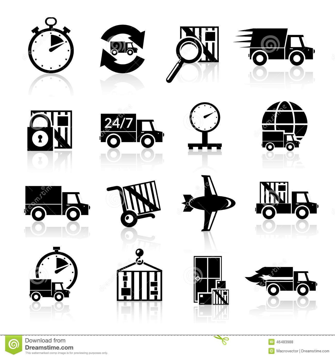Delivery Icons Set Black Stock Vector Image Of Progress