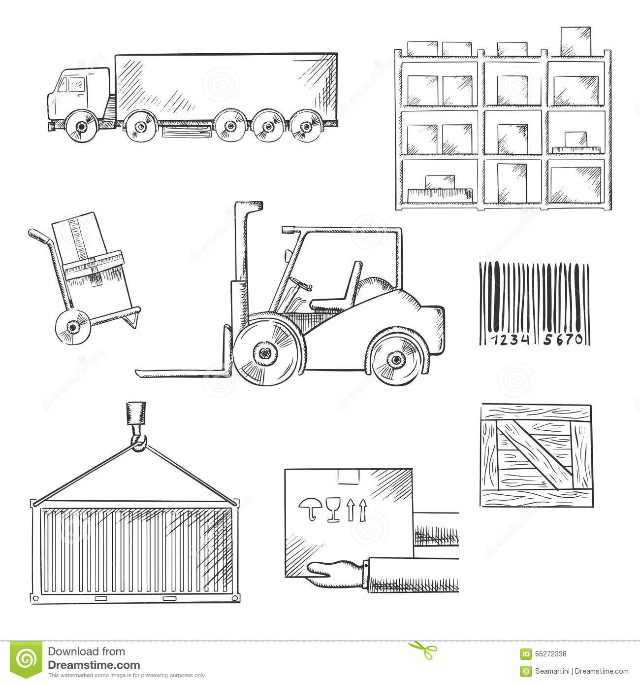 Delivery And Shipping Sketch Icons Stock Vector