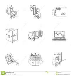forklift cargo plane goods documents and other items in the delivery and transportation logistics and delivery set collection icons in outline style  [ 1300 x 1390 Pixel ]