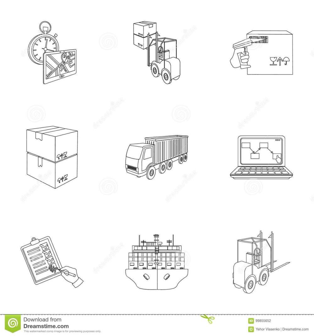 medium resolution of forklift cargo plane goods documents and other items in the delivery and transportation logistics and delivery set collection icons in outline style