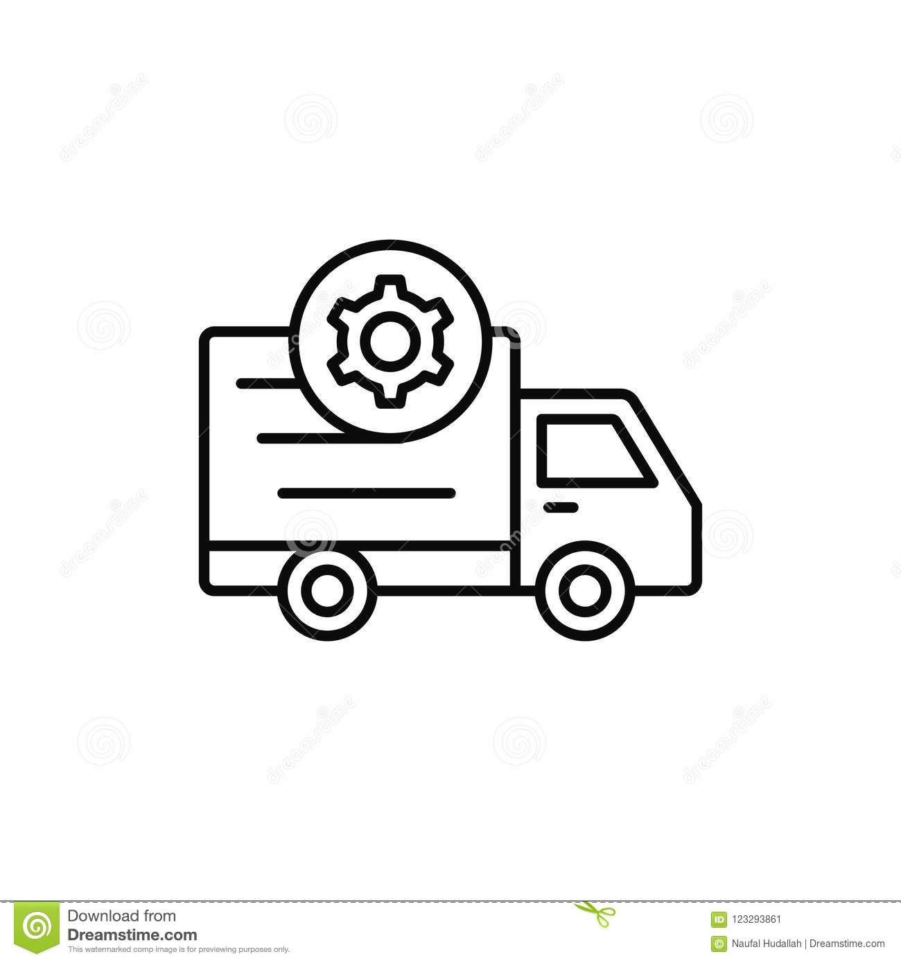 Delivery Truck Gear Icon Shipment Setting Or Machine Car