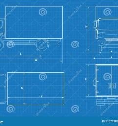 delivery truck schematic or van car blueprint vector illustration truck car in outline  [ 1300 x 967 Pixel ]