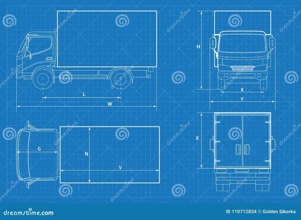 medium resolution of delivery truck schematic or van car blueprint vector illustration truck car in outline