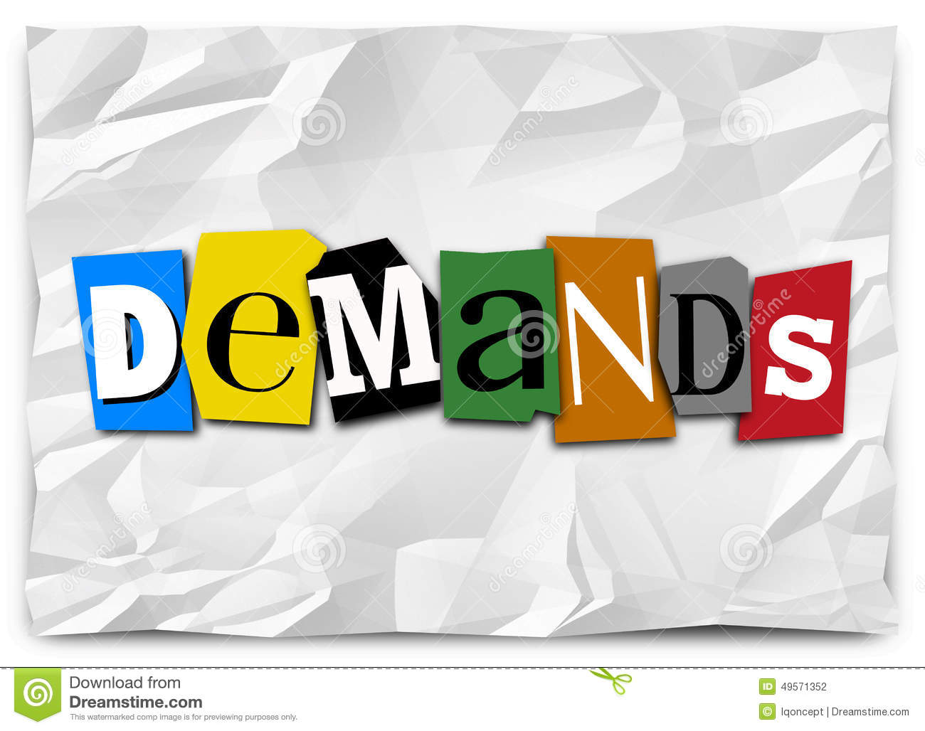Demands Word Cut Out Letters Ransom Kidnapping Note