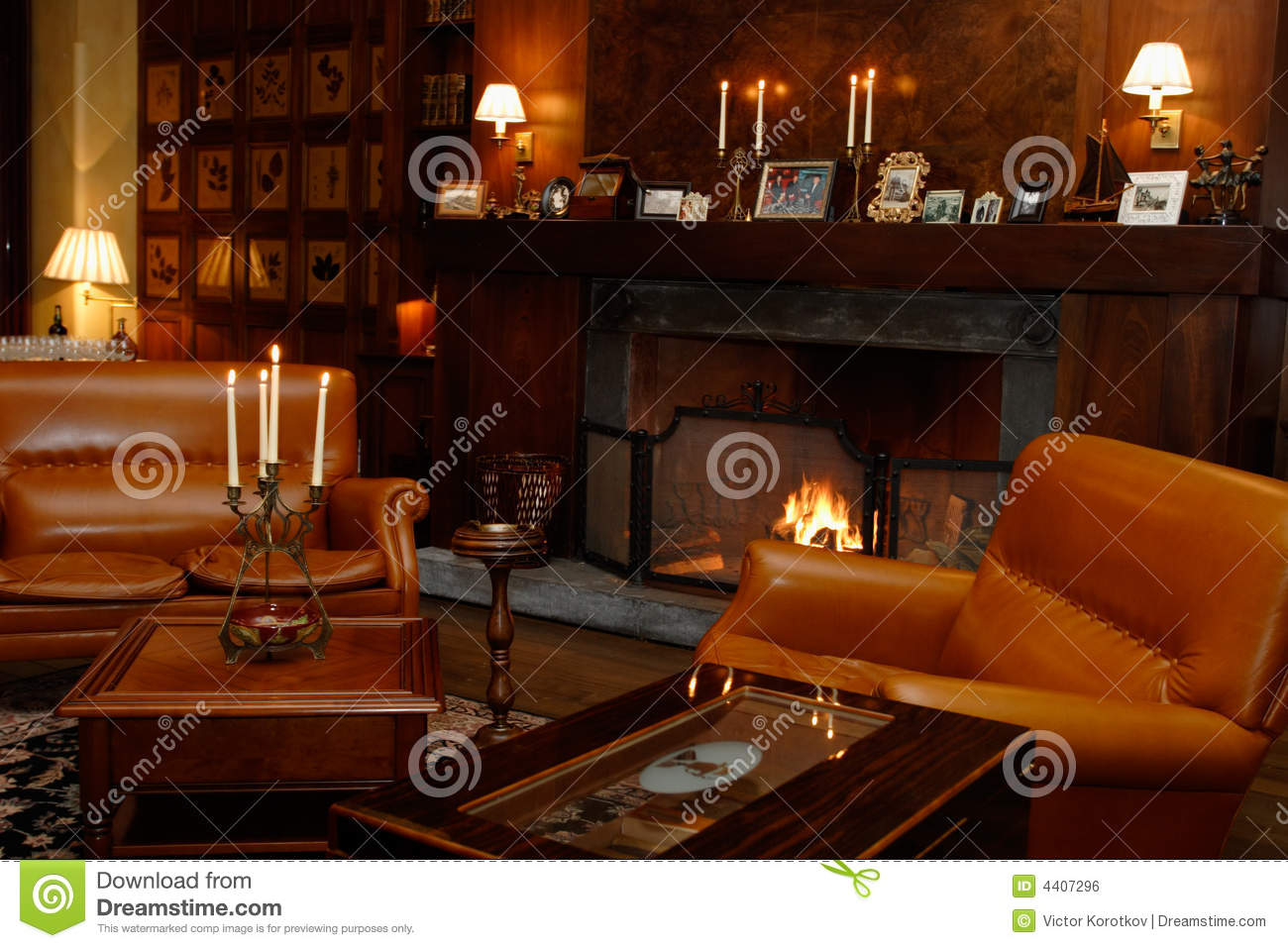 designer sofa furniture online uk den, fireplace, leather chairs stock photo - image: 4407296