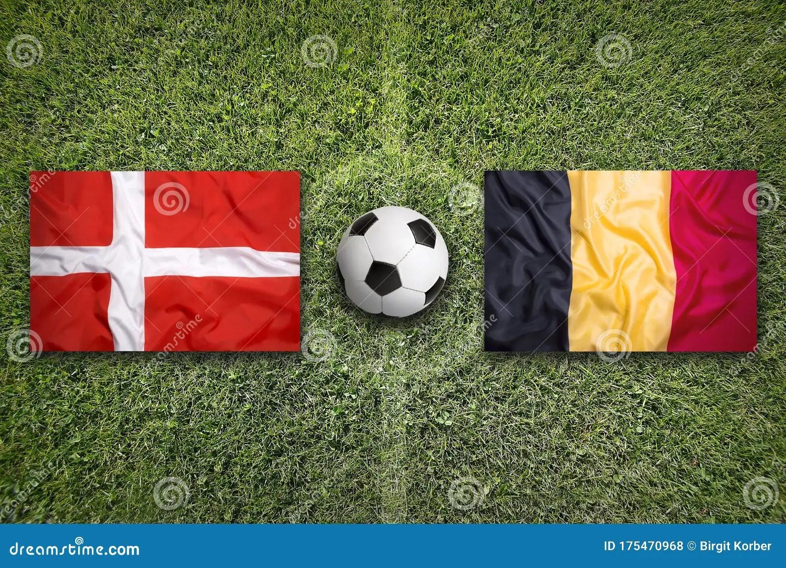 Get latest news, breaking news about belgium vs denmark. Denmark Vs. Belgium Flags On Soccer Field Stock Photo ...