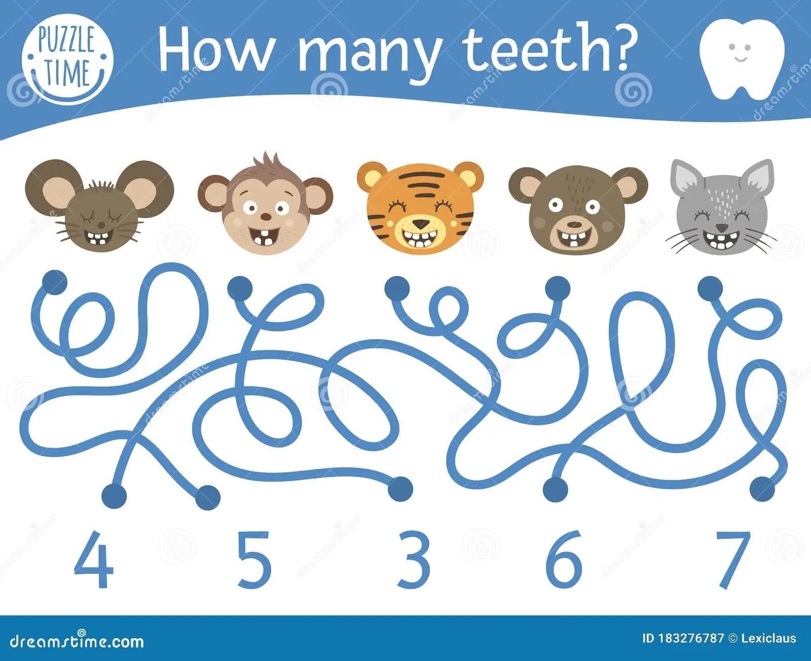 Dental Care Maze For Children Preschool Math Activity