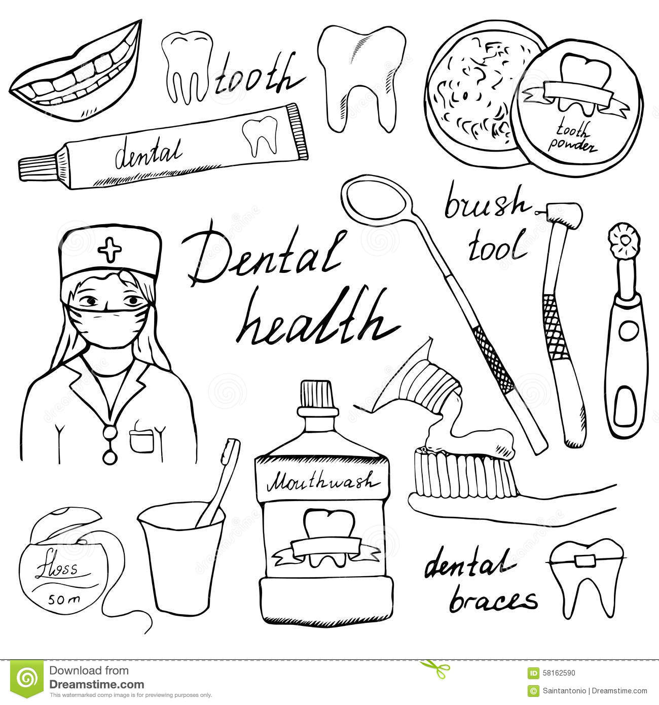 Dental Health Doodles Icons Set Hand Drawn Sketch With