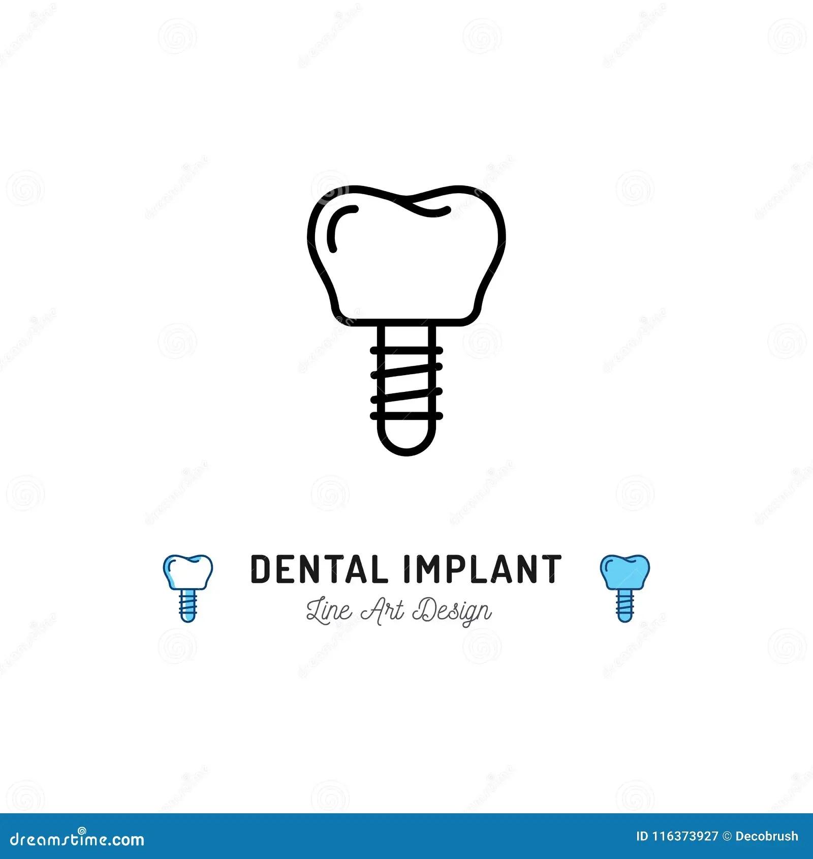 Dental Implant Icon Prosthetic Dentistry Logo. Dental Care
