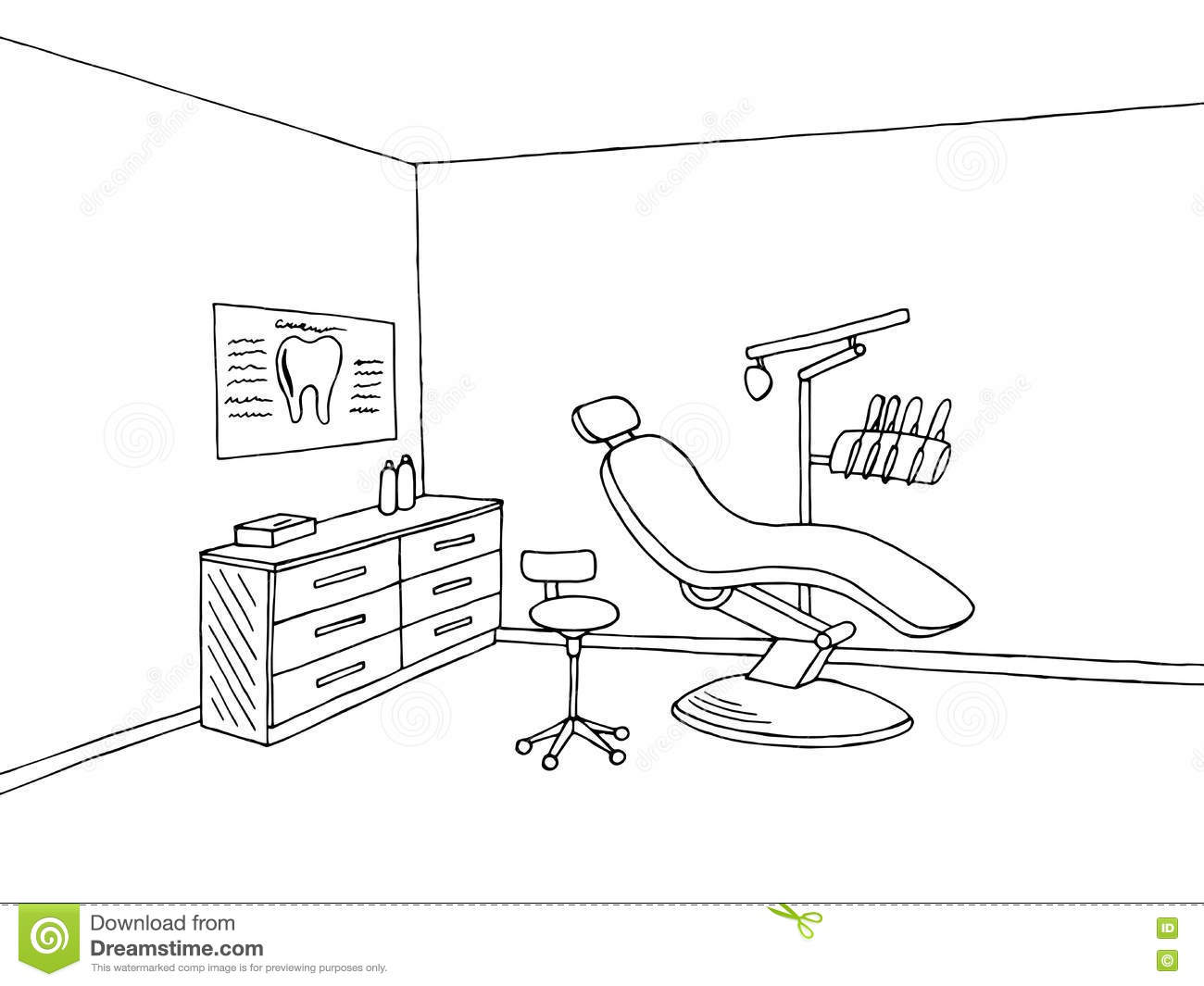 Dentist Office Clinic Graphic Art Black White Sketch