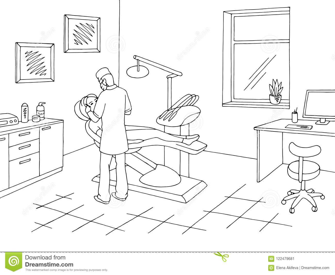 Dentist Office Clinic Graphic Black White Sketch