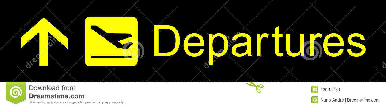 Departures Sign Stock Images  Image 12044734