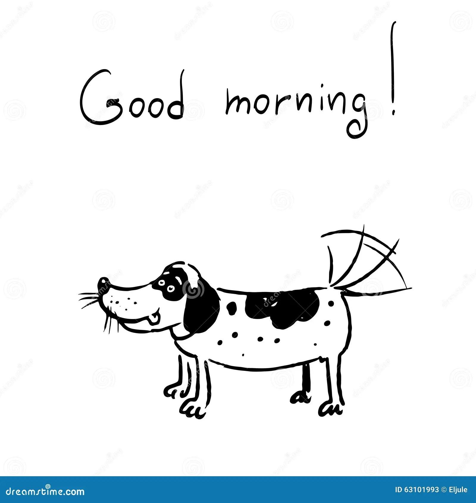 Der Hund Sagt Guten Morgen Vektor Abbildung Illustration