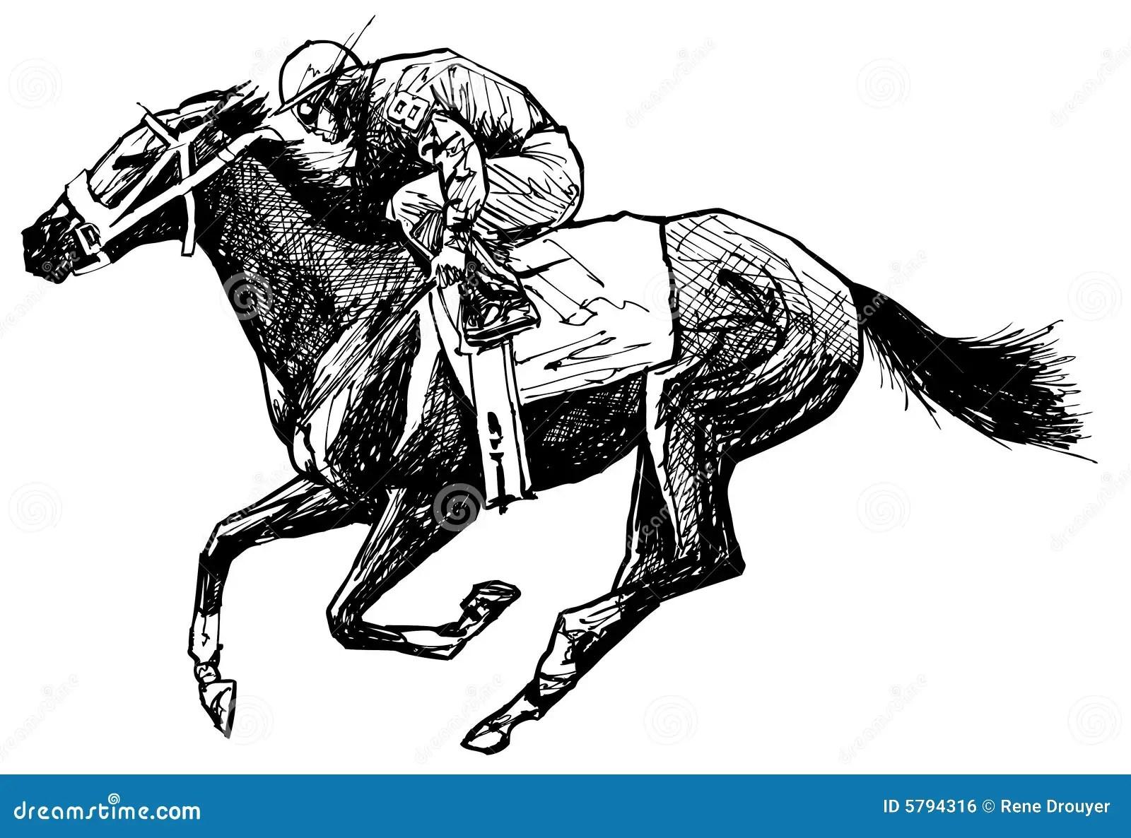 Desenho De Um Cavalo E De Um Cavaleiro Ilustracao Do Vetor