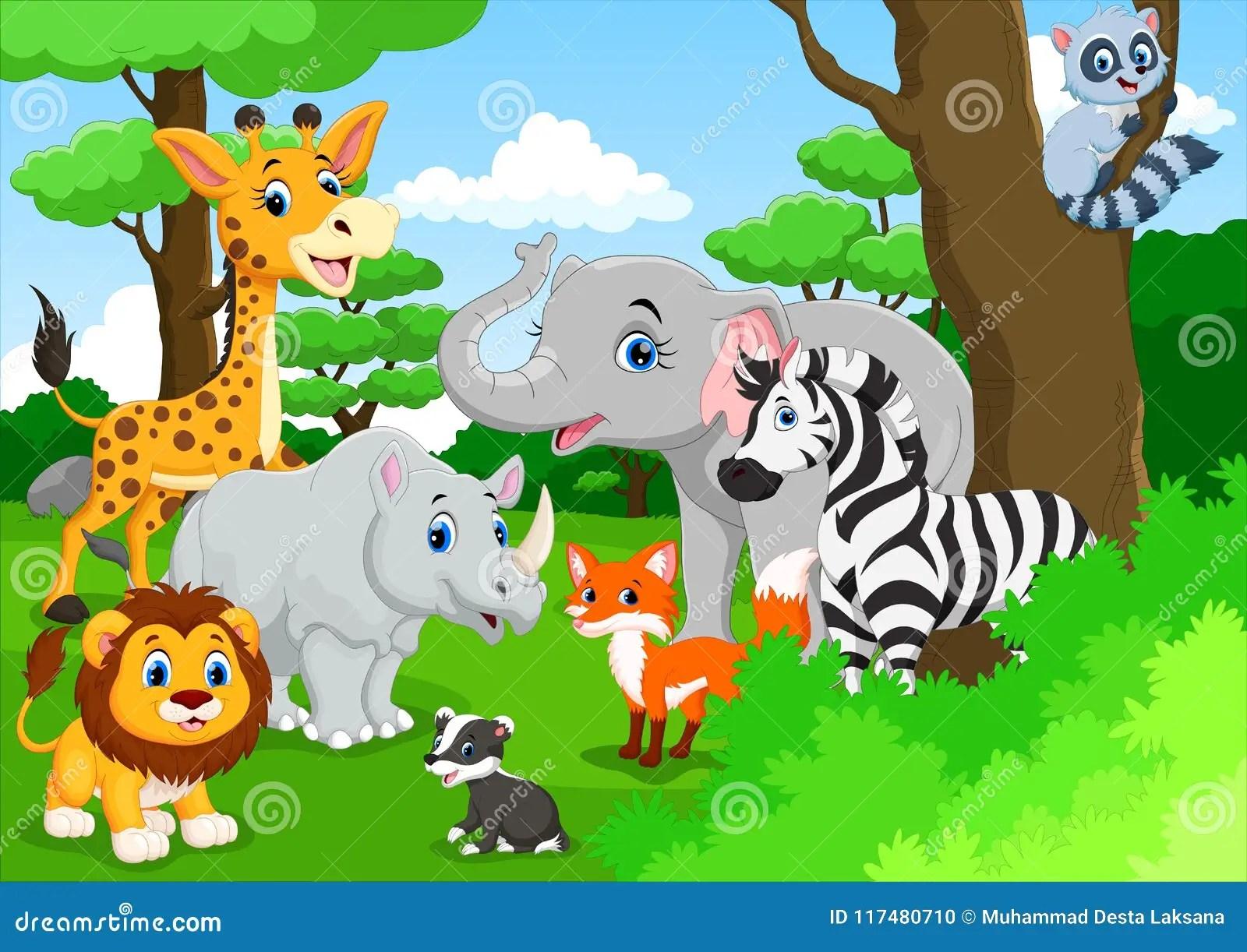 Desenhos Animados Bonitos Dos Animais Na Selva Ilustracao