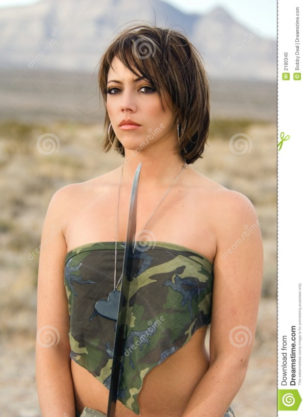 Desert Army Woman Stock Of Hair Five