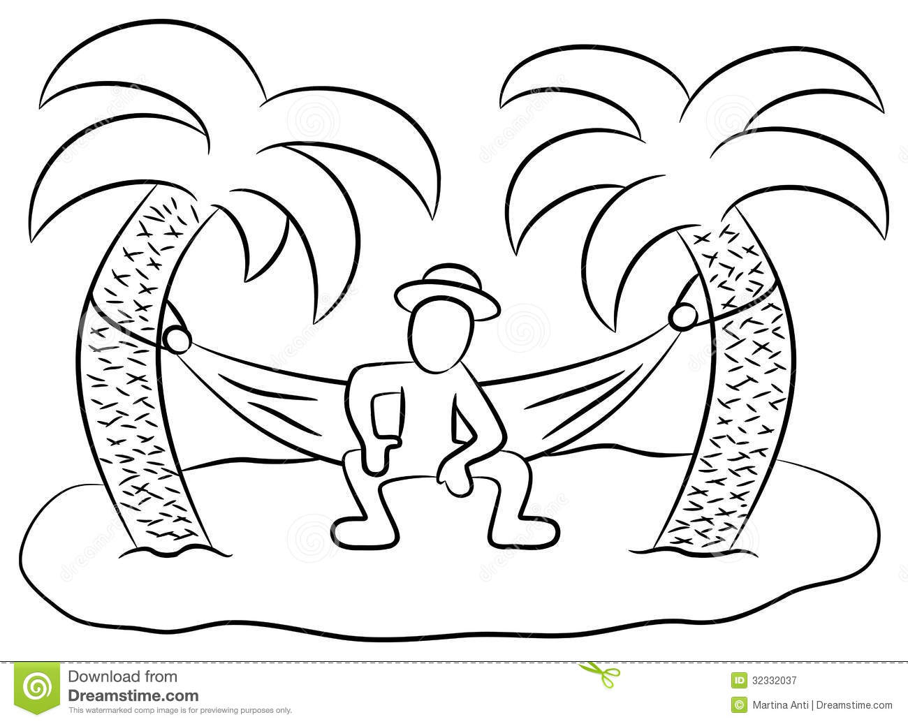 Desert island stock vector. Illustration of palm, doodle