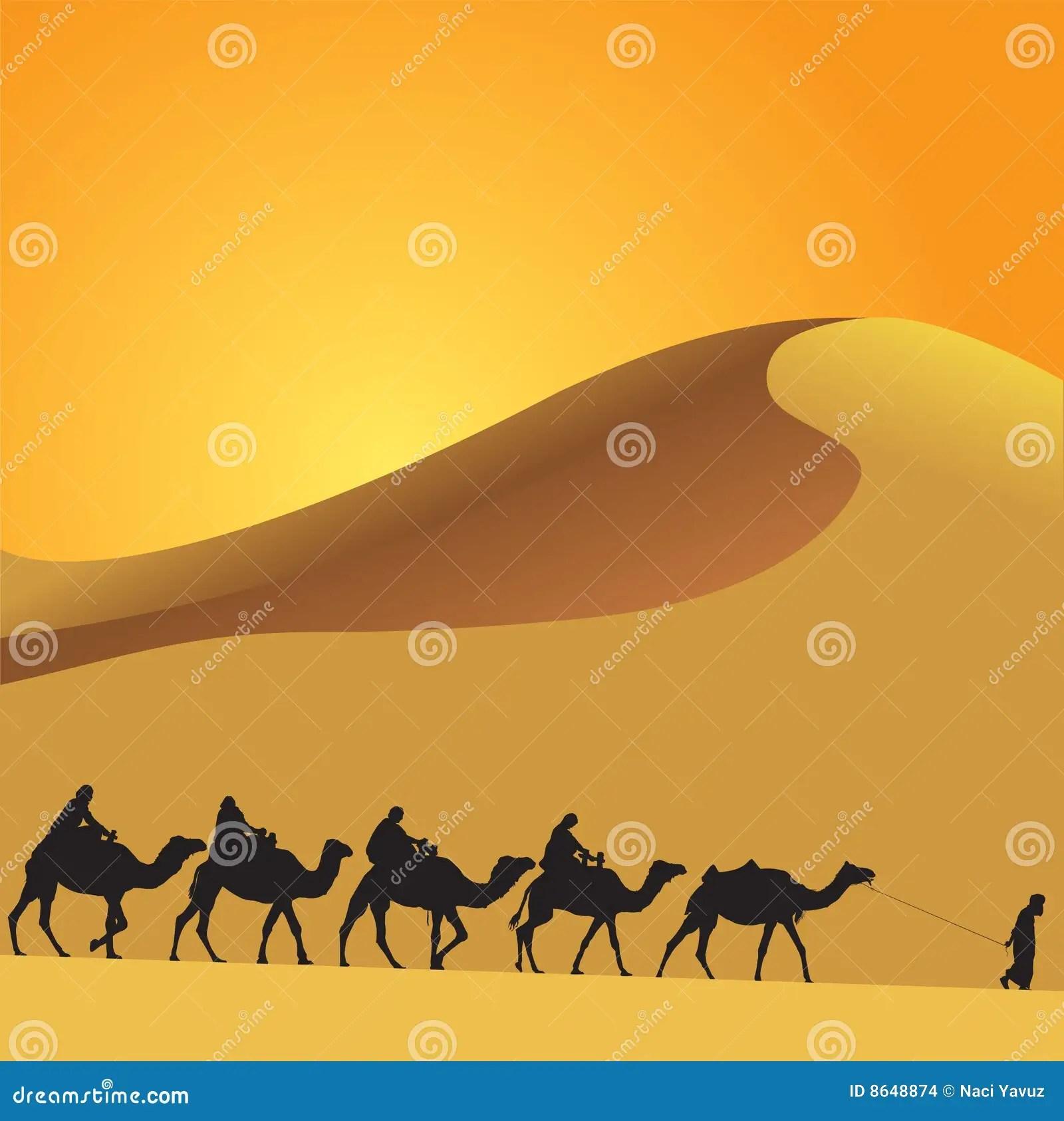 Deserto E Cammelli Di Sahara Illustrazione Vettoriale  Illustrazione di sahara sabbia 8648874