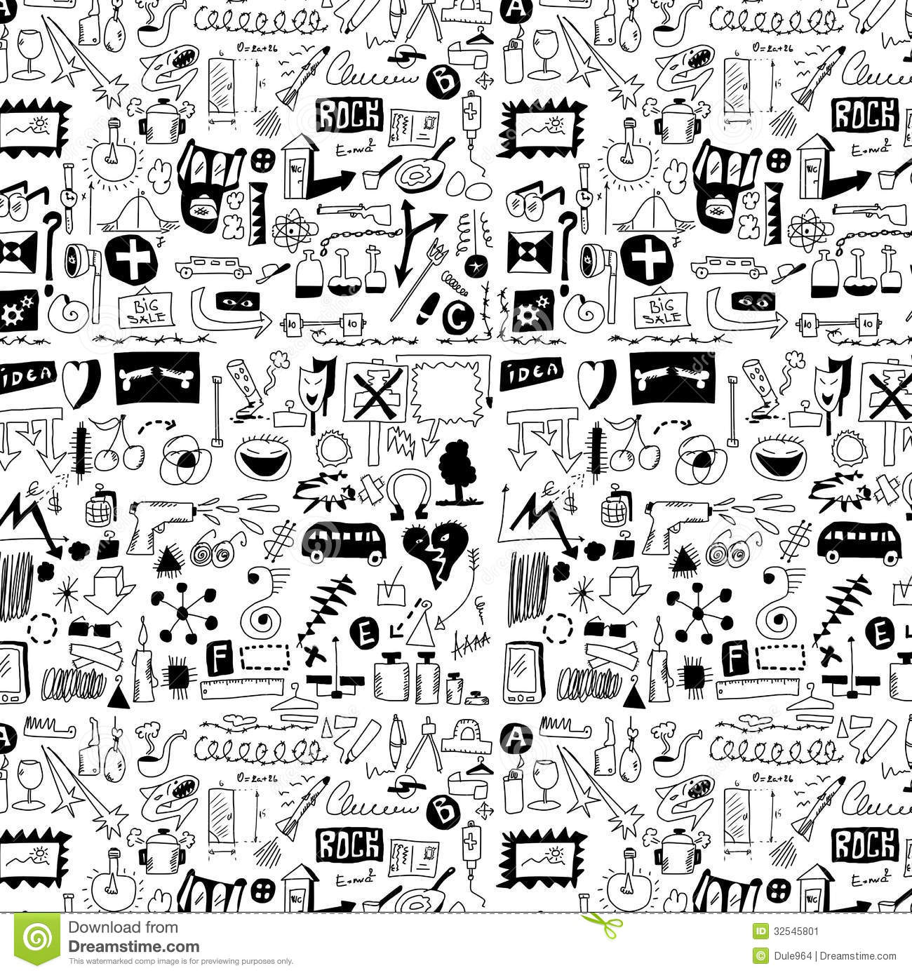 Design Elements Doodle Icons Hand Drawn Stock Image