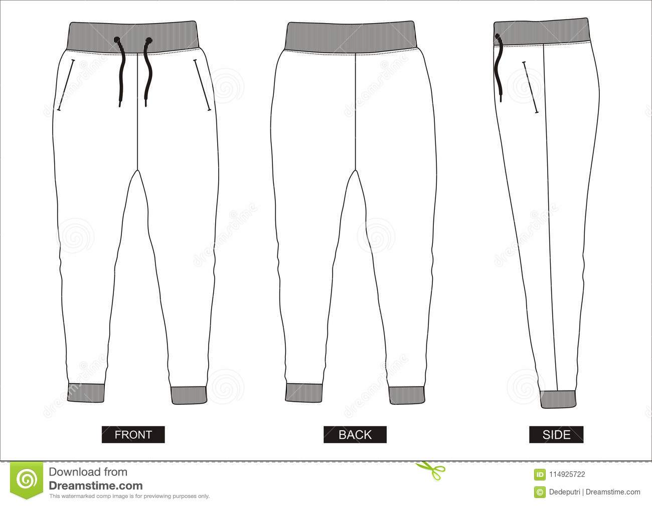 Design Vector Template Pants Collection For Men Stock