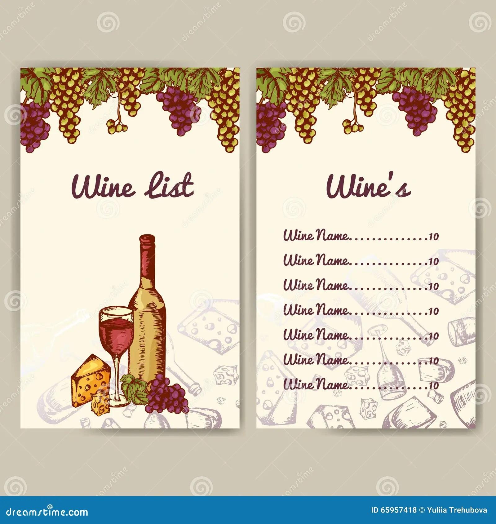 Design For Wine List Restaurant Template For Invitation
