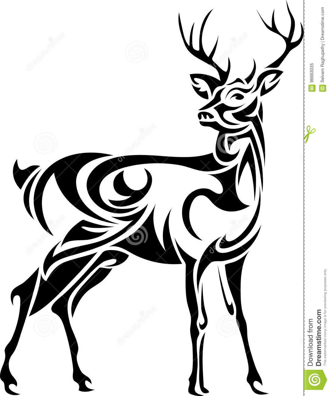 designed stag line art