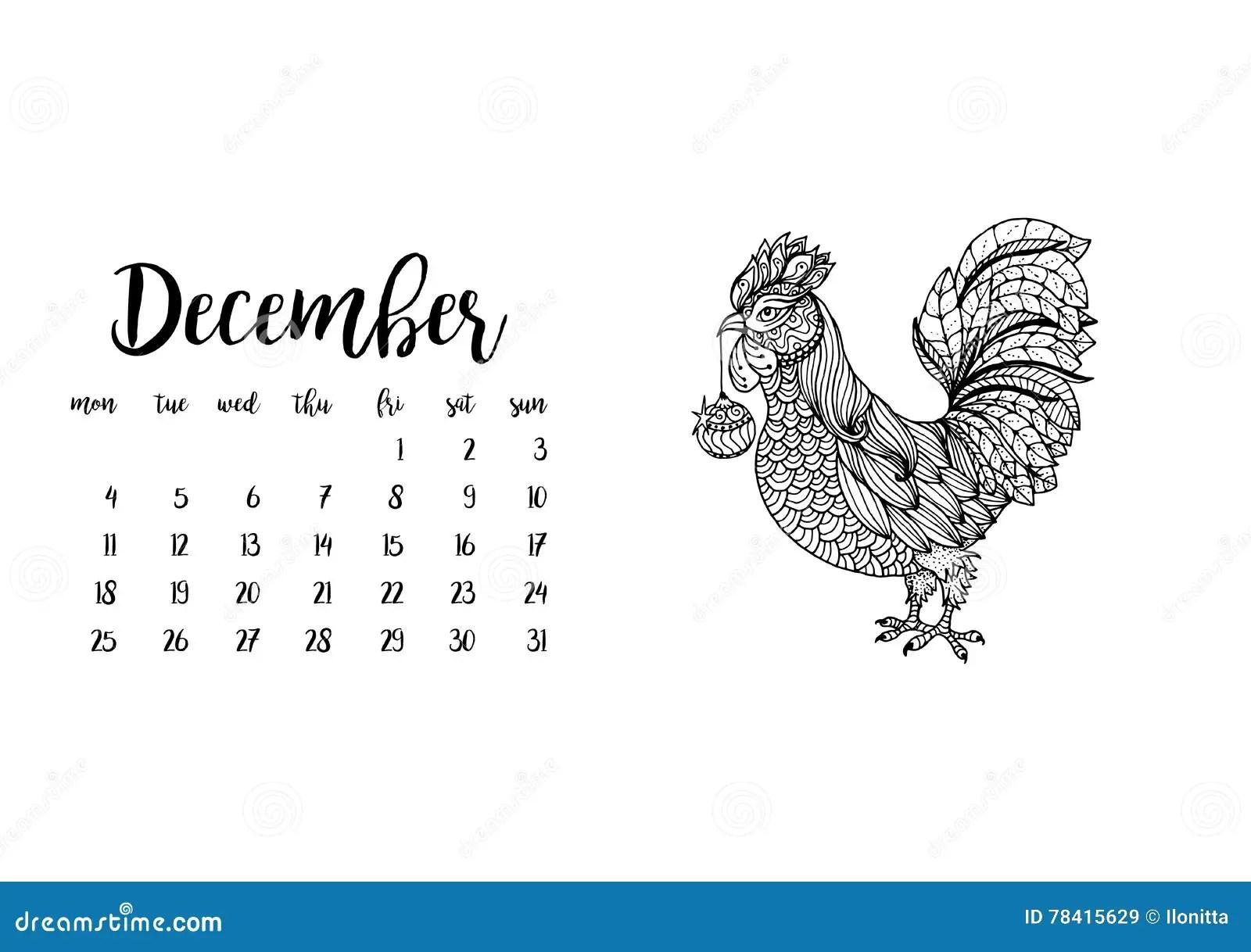 Desk Calendar Template For Month December With Doodle