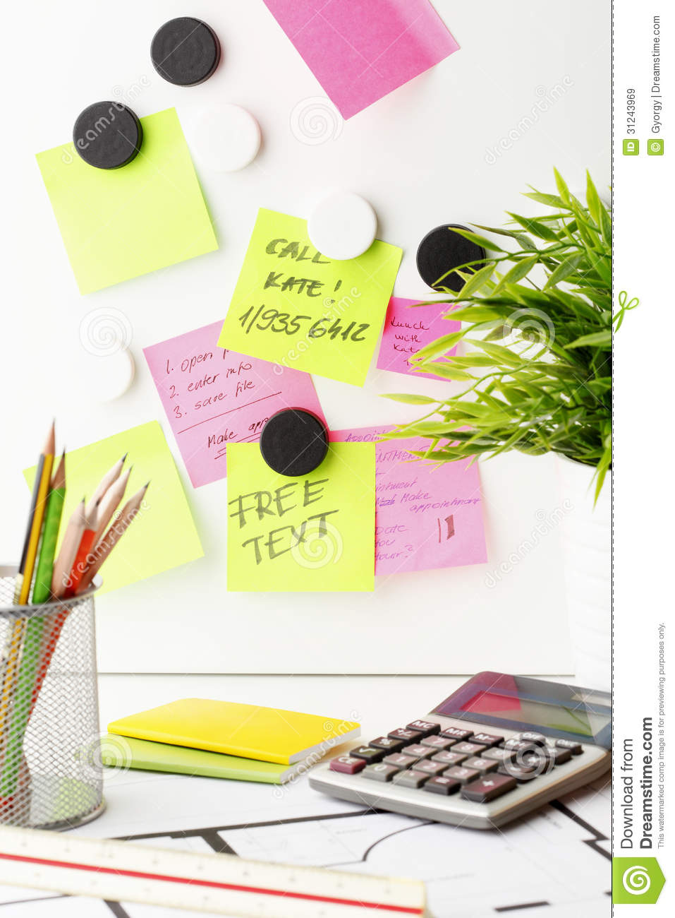 Desk with Post It notes stock image Image of list