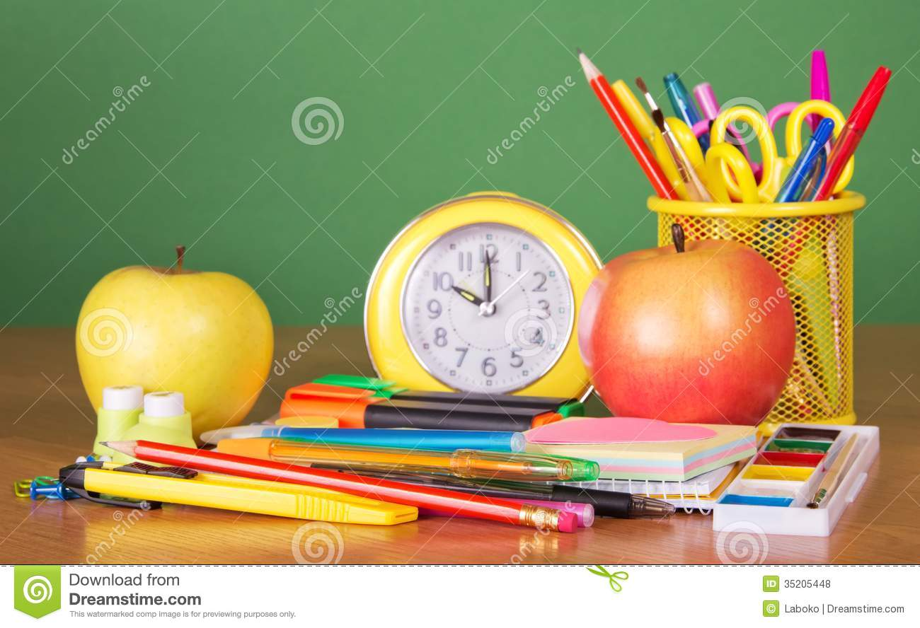 Desk For Two People Desk With School Stuff Royalty Free Stock Photos - Image