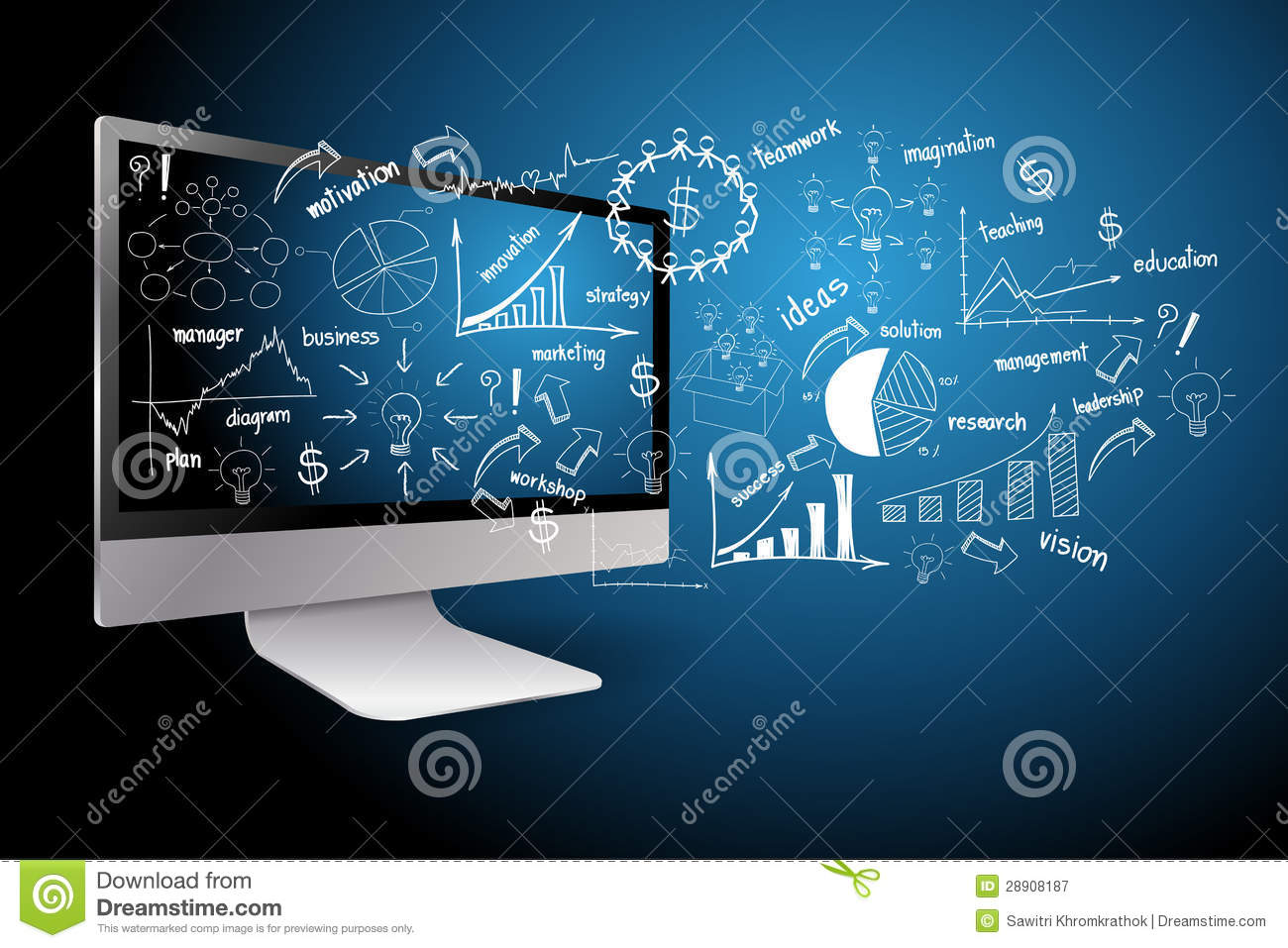 desktop computer diagram sub wiring with business plan concept royalty free stock photography - image: 28908187