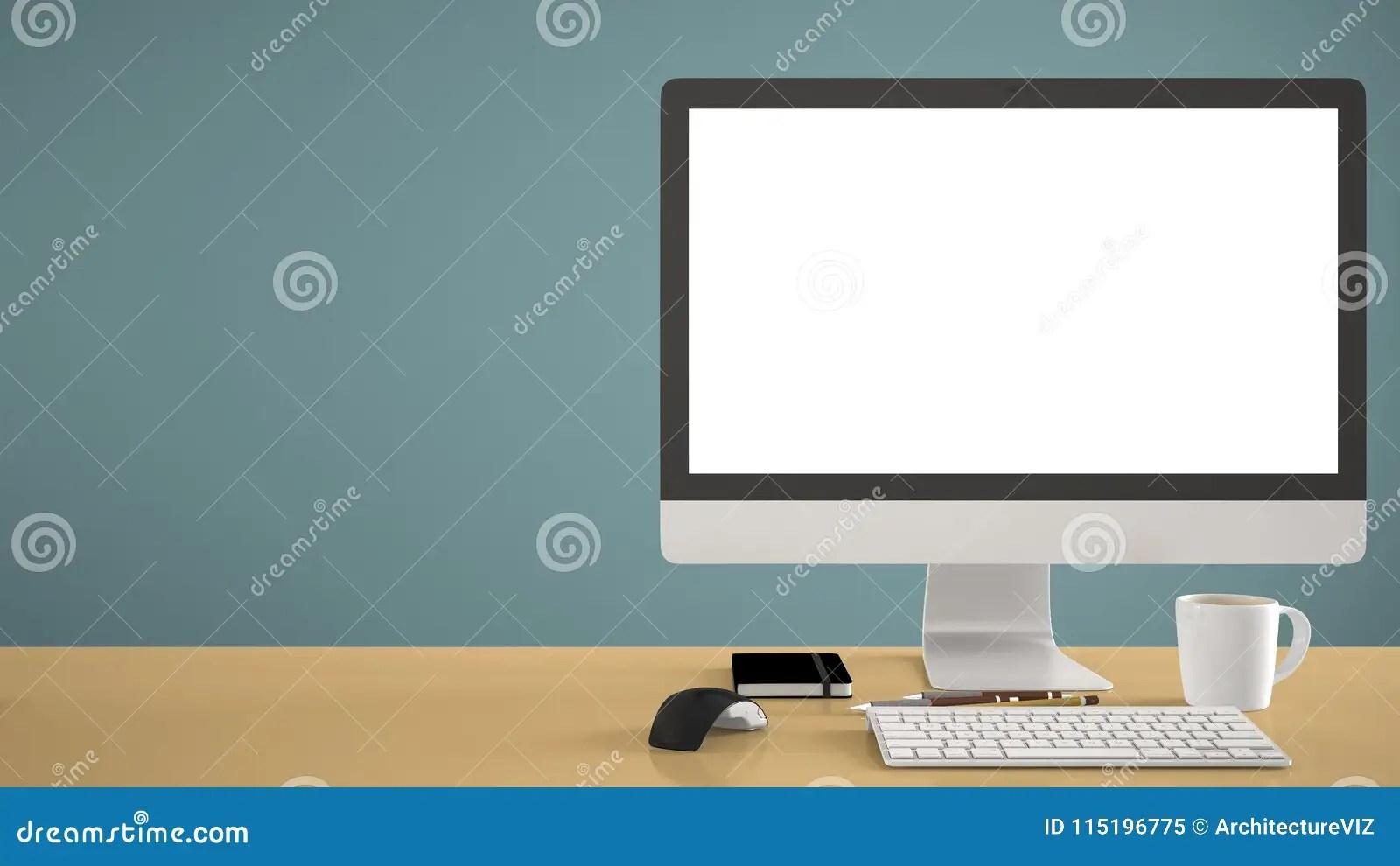 Desktop Mockup Template Computer On Yellow Work Desk