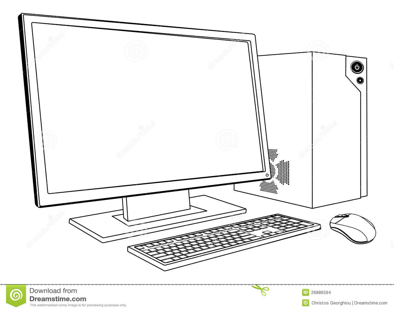 Desktop Pc Computer Workstation Stock Vector