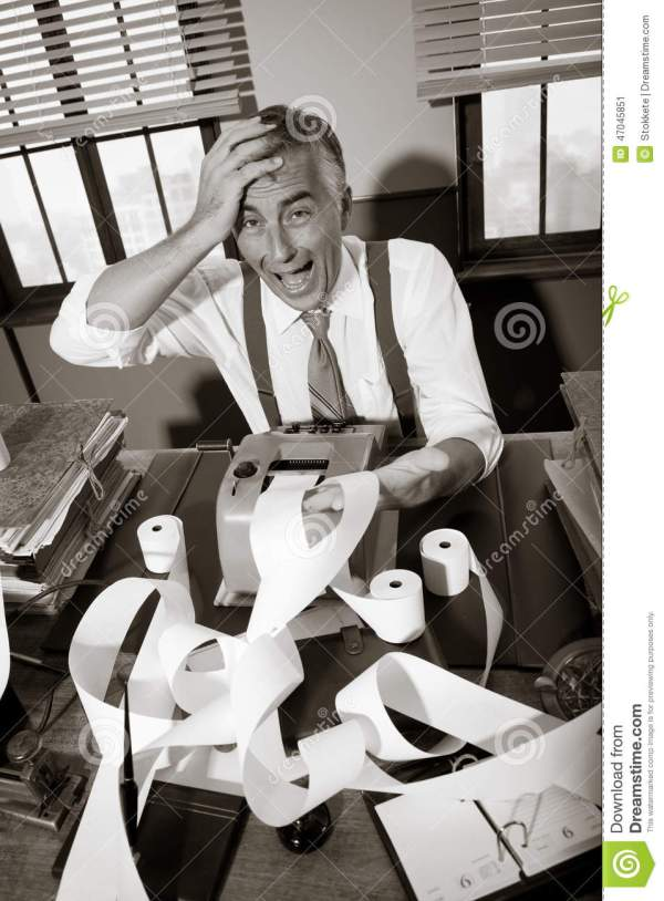 Desperate Vintage Accountant At Desk Stock Photo - Image ...
