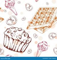 Dessert Seamless Pattern. Sweet Background In Hand Drawn ...