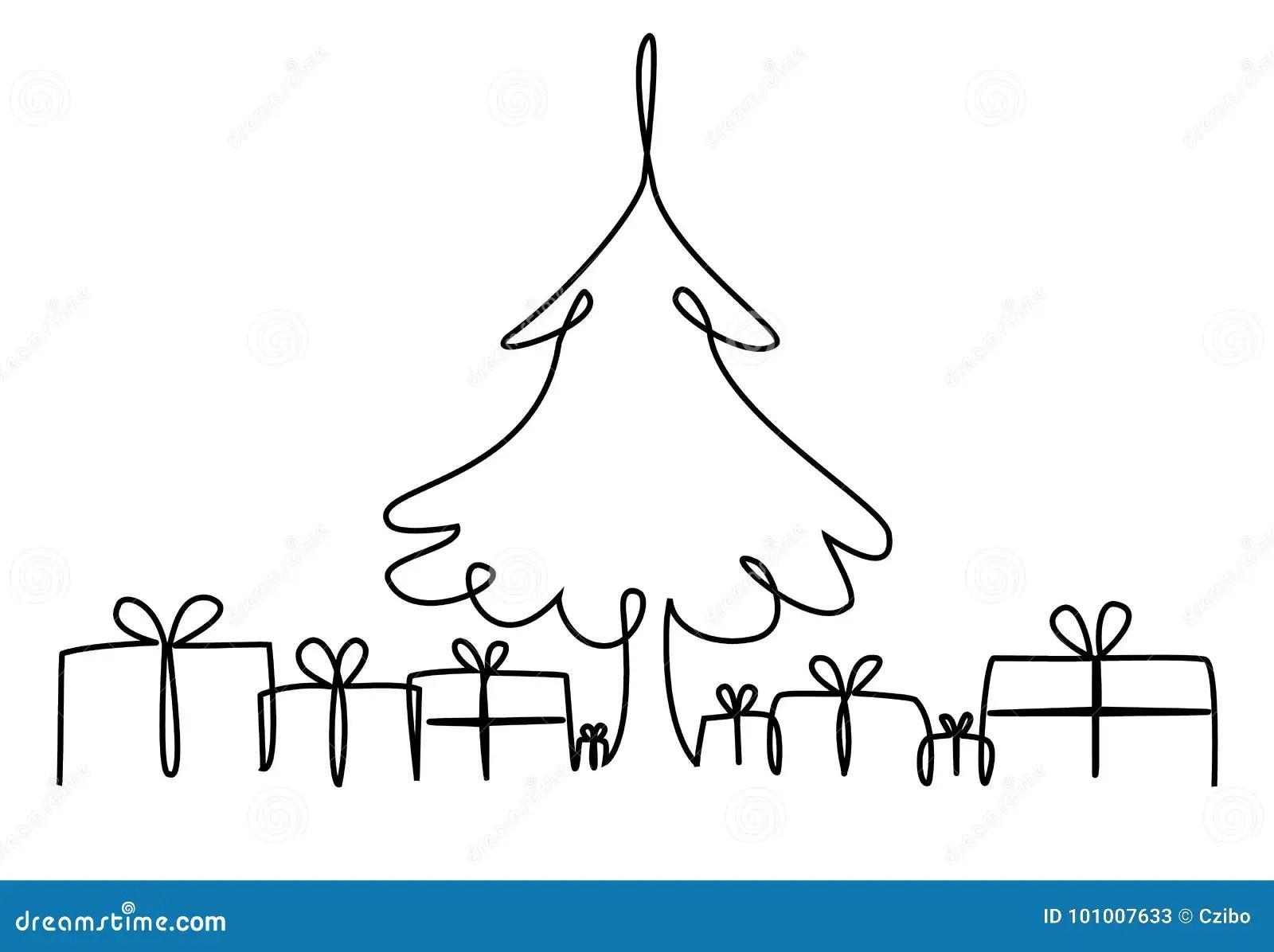 Dessin Au Trait Arbre De Noel Un Illustration De Vecteur