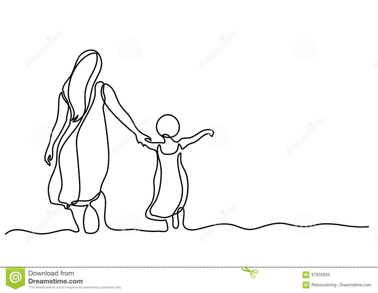 Dessin Au Trait Continu De Mere Et D Enfant En Mer Illustration De Vecteur