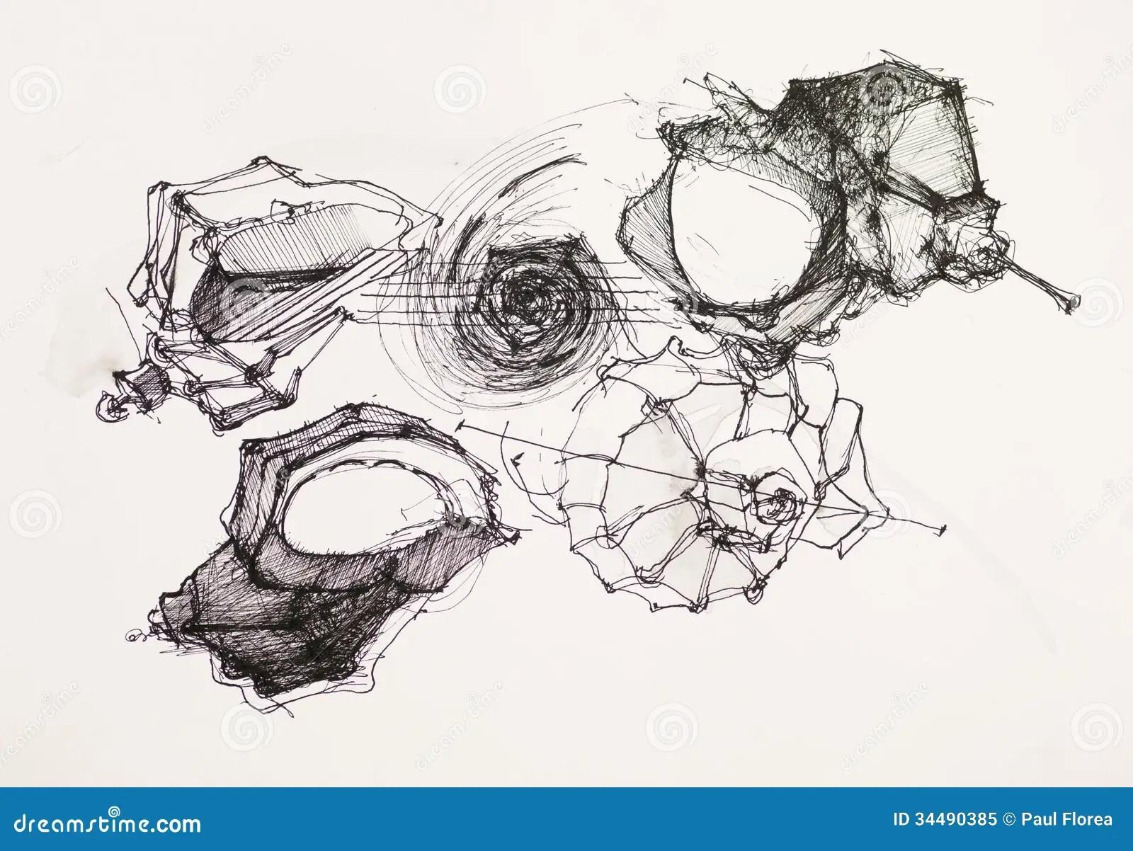 Dessin D Encre De Coquillages Illustration Stock